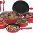 Chef's Secret 16pc Red Aluminum Cookware Set