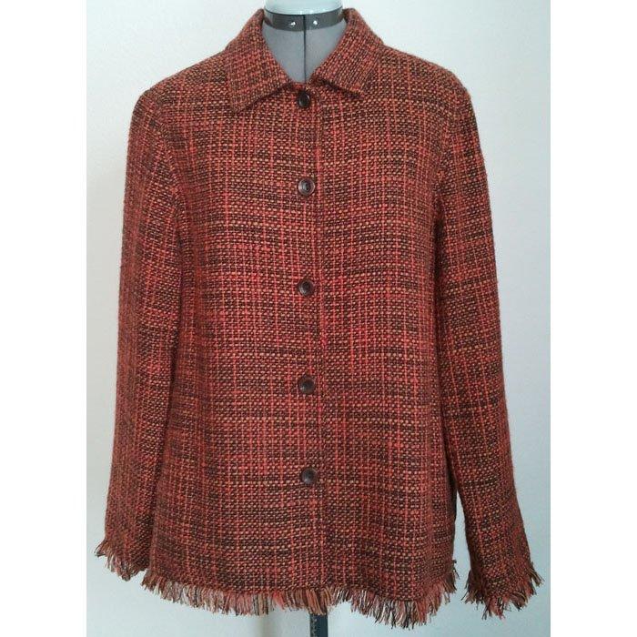 Womens Vintage Tweed Blazer Lined Fringed Sleeves Brown Spice Wool Blend Size L