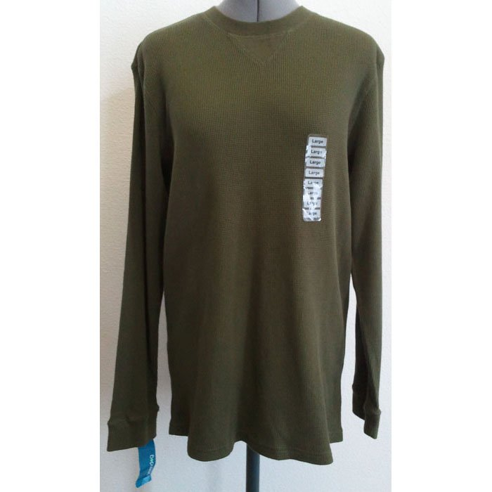 Mens Green Dog Cotton Thermal Shirt Long-Sleeved Pullover Green/Dark Fir L NWT