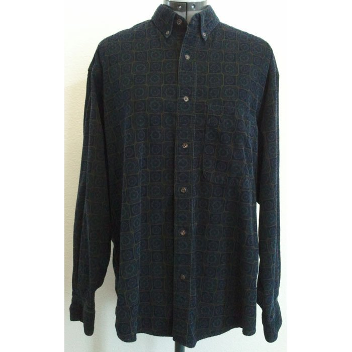 Mens Claiborne Corduroy Shirt Cotton Long Sleeve Button Front Buttoned-Down Collar Dark Blue Size M