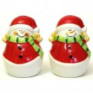 Salt and Pepper Shakers Jolly Snowman Holiday Porcelain Shaker Set 2pc