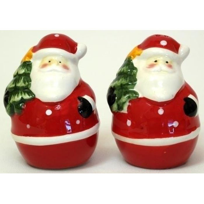 Salt and Pepper Shakers Santa with Christmas Tree Holiday Porcelain Shaker Set 2pc