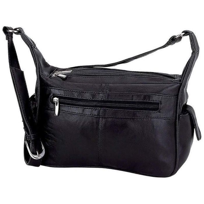 Leather Purse Black Buttery Soft Lambskin with Adjustable Shoulder Strap 11in