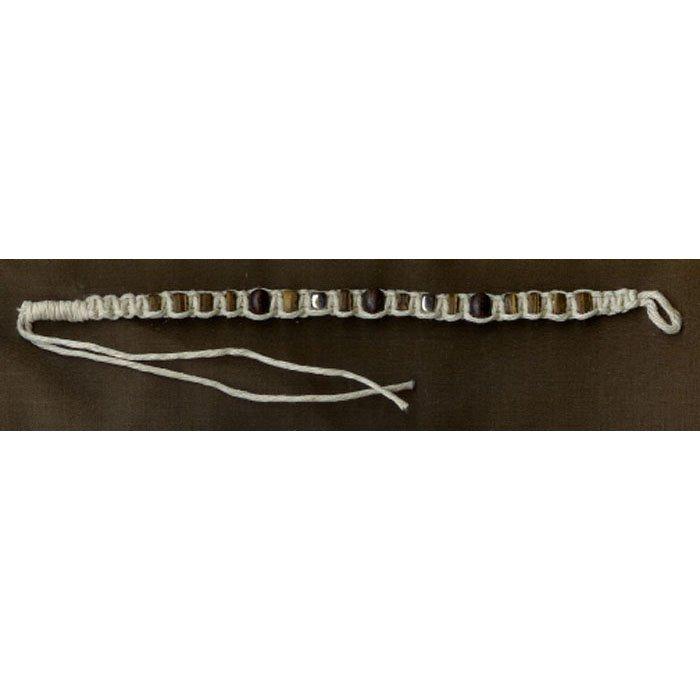Handcrafted Beaded Bracelet Hemp Coconut Shell Wood Surfer Boho Style 7in