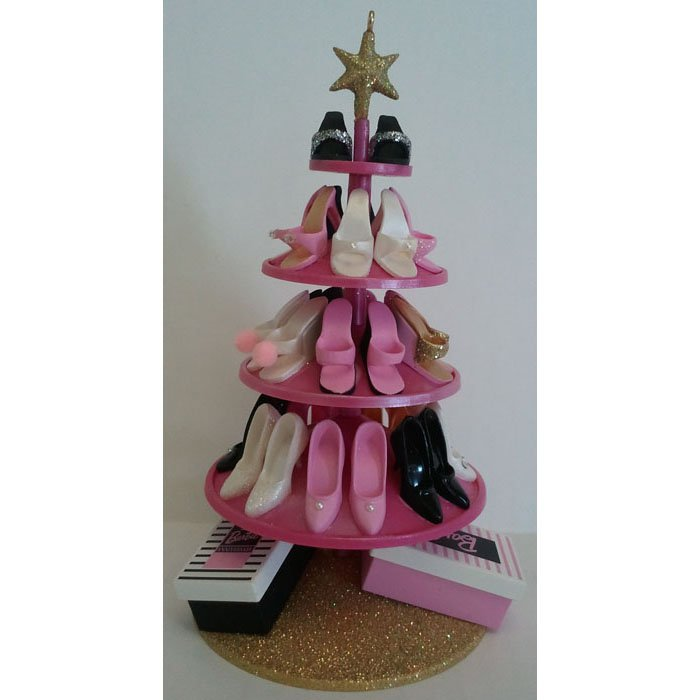 Barbie Shoe Tree Ornament Hallmark 45th Barbie Anniversary QHB6604 Handcrafted Dated 2004
