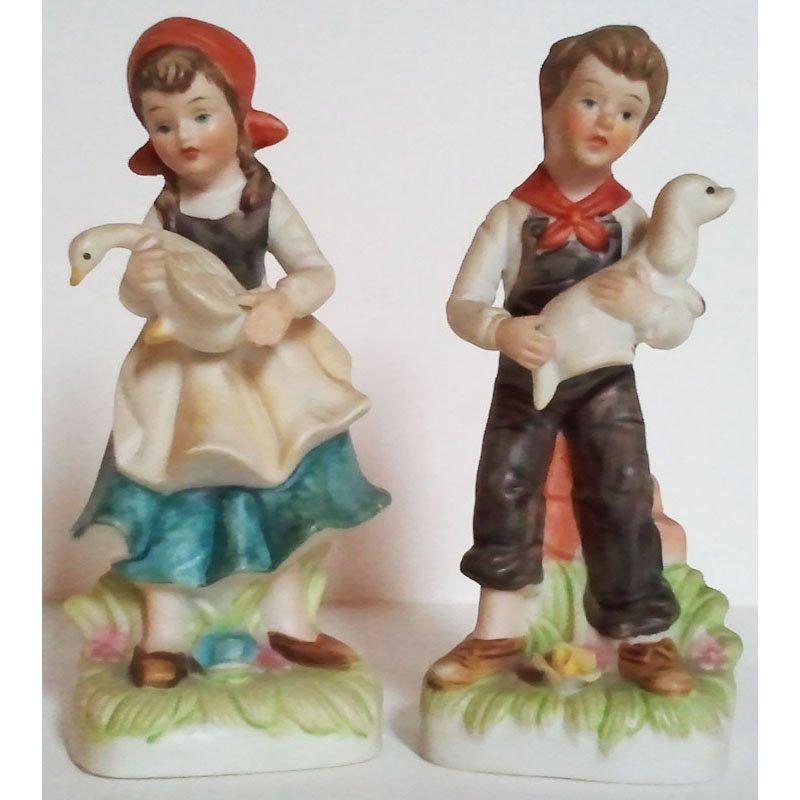 Victorian Farm Boy and Girl Figurines Vintage Porcelain Bisque Circa 1980s Set of 2