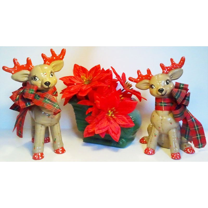 Poinsettia Sleigh and Reindeer Holiday Centerpiece Vintage Set of 3 Ceramic Figurines