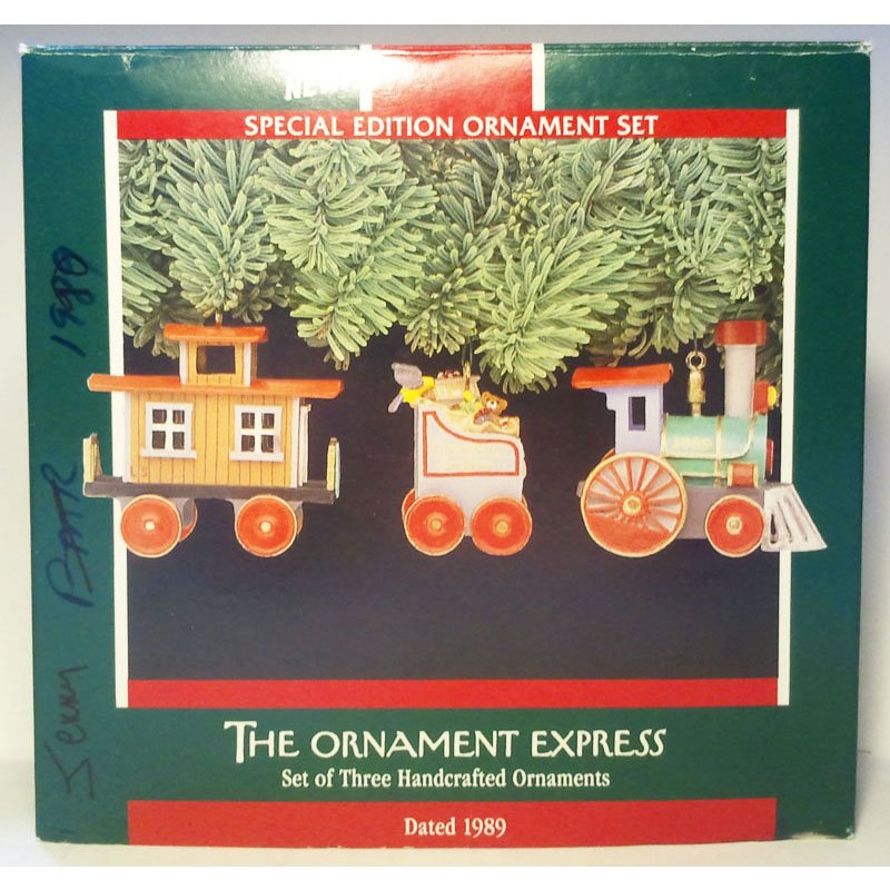 The Ornament Express Train Set Hallmark Special Edition Christmas Ornament 1989 Vintage Collectible MIB QX5805