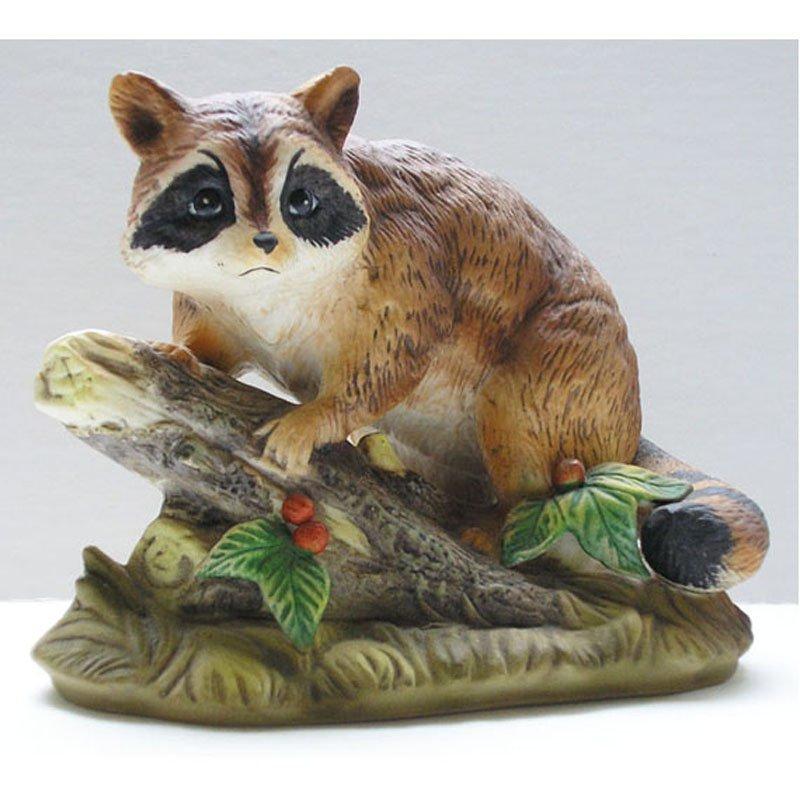 Raccoon Homco Figurine Porcelain Bisque Brown Vintage Retired 1247