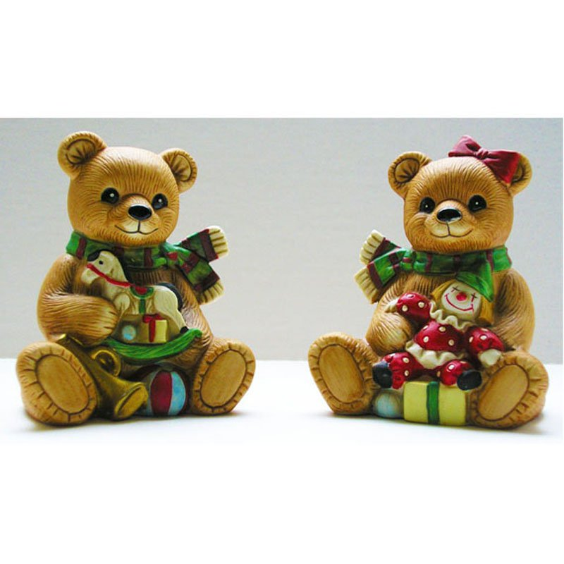 Country Christmas Bears Homco Figurines Porcelain Bisque Vintage 1980s Set of 2 Retired 5251