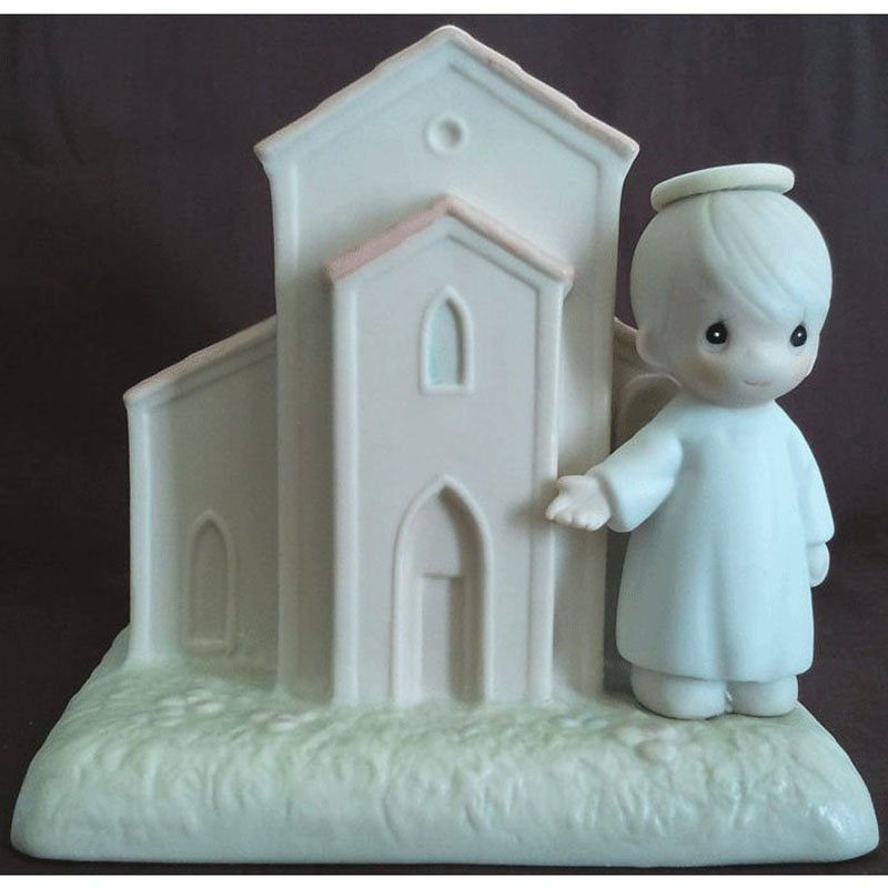 Precious Moments Chapel Figurine There's a Christian Welcome Here Signed G-Clef 1992 Enesco 523011