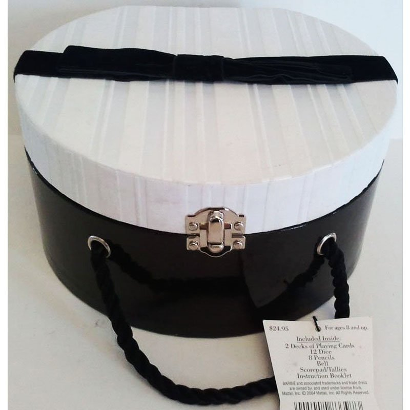 Barbie Bunko and Game Set in Decorative Hat Box Hallmark 45th Barbie Anniversary PR3095 NWT