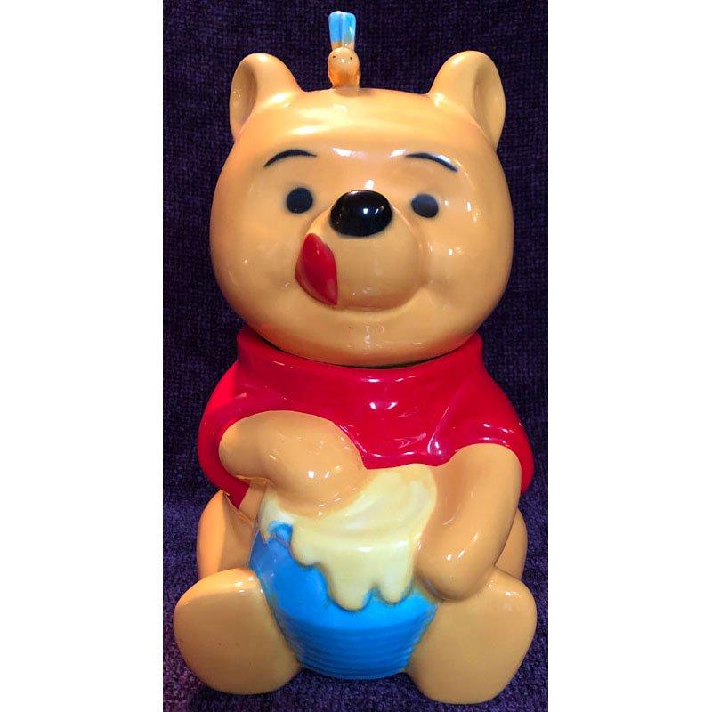 Winnie the Pooh Cookie Jar with Blue Honey Pot Vintage 1970s Glazed Ceramic 12in