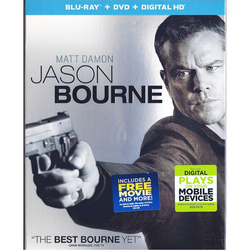 Jason Bourne Blu-Ray/DVD Widescreen Matt Damon Tommy Lee Jones Julia Stiles Alicia Vikander 2016