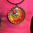 Bottle Cap pendant with Peace Sign #003