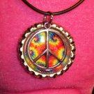 Bottle Cap pendant with Peace Sign #006