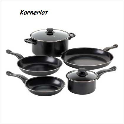 Seven Piece Black Nonstick Cookware
