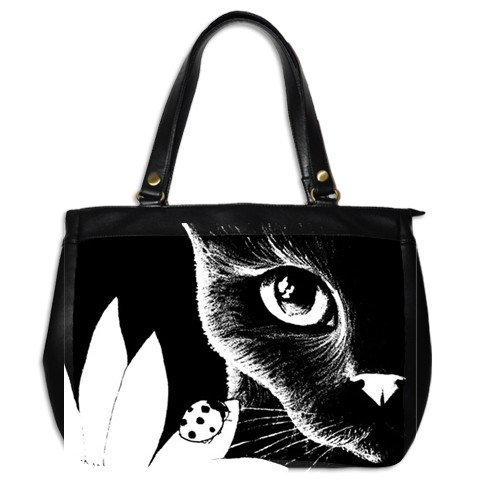 Office Handbag Purse from art Cat 510 ladybug Black & White