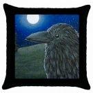 Throw Pillow Case from art Bird 52 Crow Raven