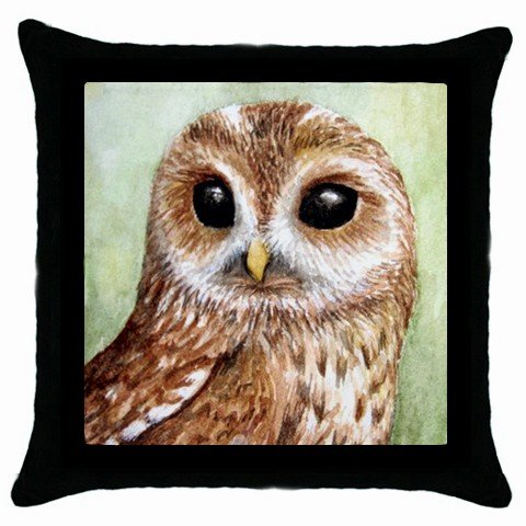 Throw Pillow Case from art Bird 57 Owl