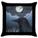 Throw Pillow Case from art Bird 58 Crow Raven