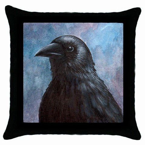 Throw Pillow Case from art painting Bird 59 Crow Raven