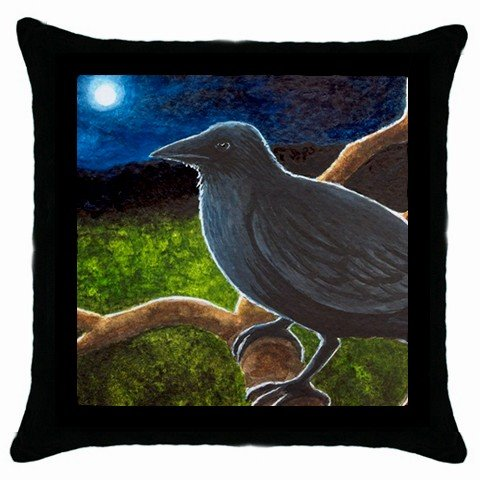 Throw Pillow Case from art painting Bird 61 Crow Raven