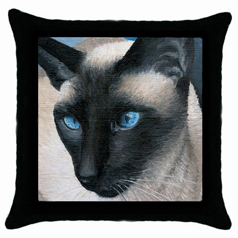 Throw Pillow Case from art Siamese Cat