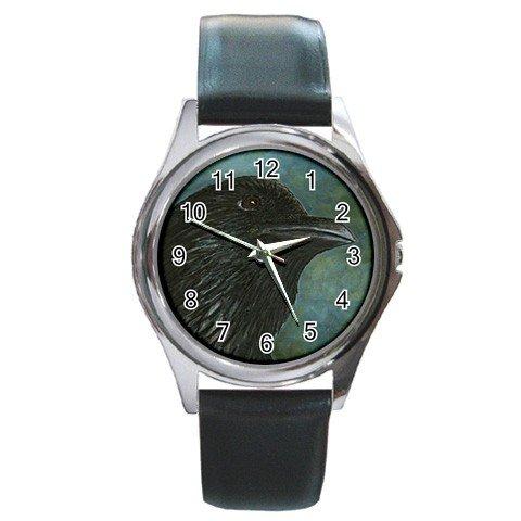 Round Metal Wrist Watch from art Bird 26 Crow Raven