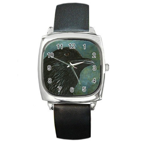 Square Metal Wrist Watch from art Bird 26 Crow Raven