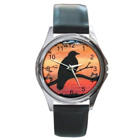Round Metal Wrist Watch from art Bird 46 Crow Raven