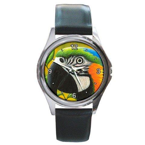 Round Metal Wrist Watch from art Bird 50 Parrot