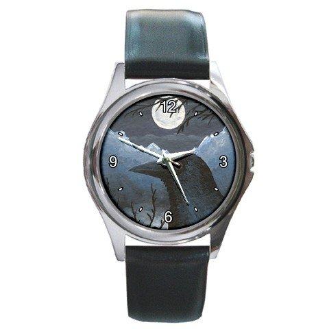 Round Metal Wrist Watch from art Bird 58 Crow Raven