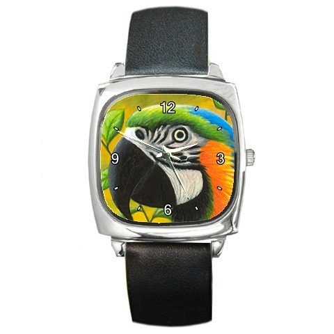 Square Metal Wrist Watch from art Bird 50 Parrot