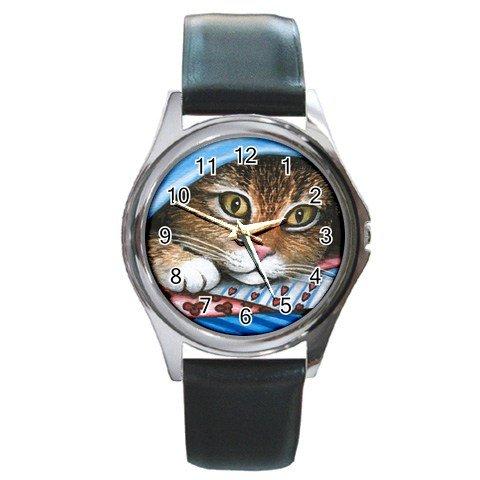 Round Metal Wrist Watch art painting Cat 258