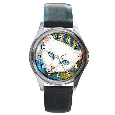 Round Metal Wrist Watch art painting Cat 302