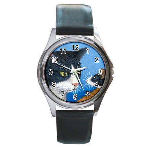 Round Metal Wrist Watch art painting Cat 322 mouse