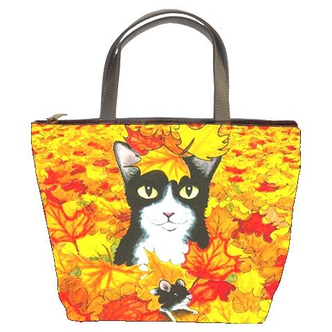 Bucket bag Purse from art painting Cat 447 fall