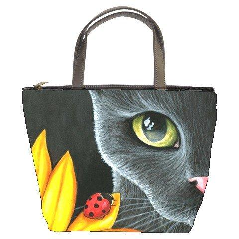 Bucket bag Purse from art painting Cat 510 ladybug