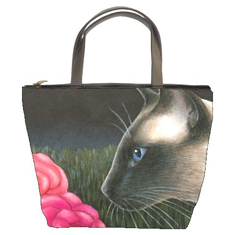 Bucket bag Purse from art painting Cat 546 siamese
