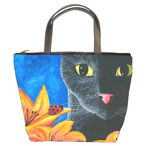 Bucket bag Purse from art painting Cat 551 ladybug