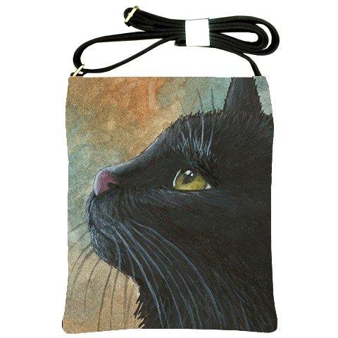 Shoulder Sling Bag Purse from art painting Cat 545 black cat