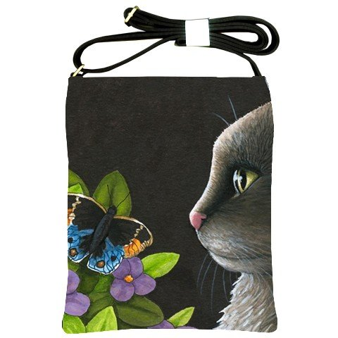 Shoulder Sling Bag Purse from art painting Cat 556 butterfly