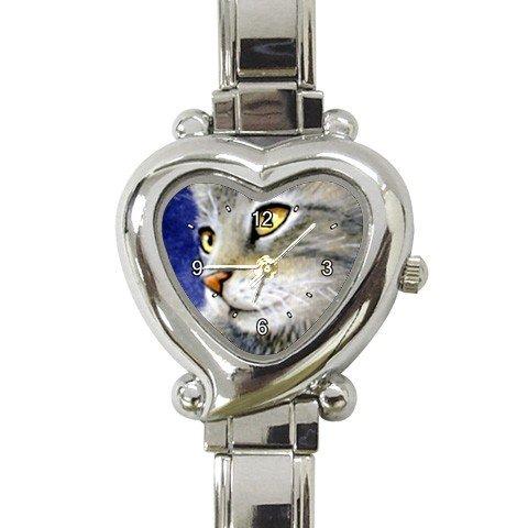 Heart shape Italian Charm Watch from art painting Cat 61