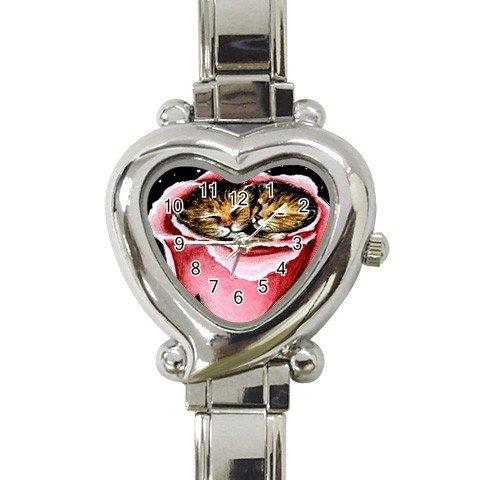 Heart shape Italian Charm Watch from art painting Cat 259