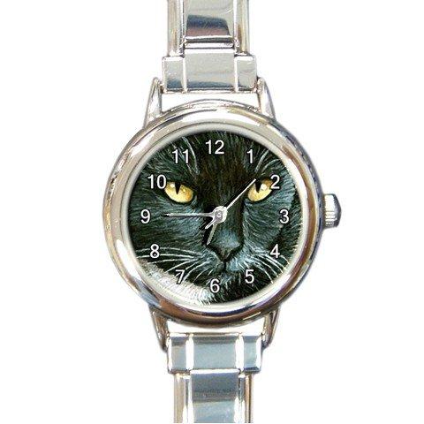 Round Italian Charm Watch from art painting Cat 277 tuxedo