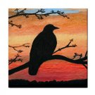 Ceramic Tile Coaster from art painting Bird 46 Crow raven