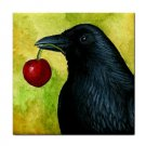 Ceramic Tile Coaster from art painting Bird 55 Crow raven