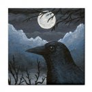 Ceramic Tile Coaster from art painting Bird 58 Crow raven