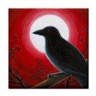 Ceramic Tile Coaster from art painting Bird 62 Crow raven